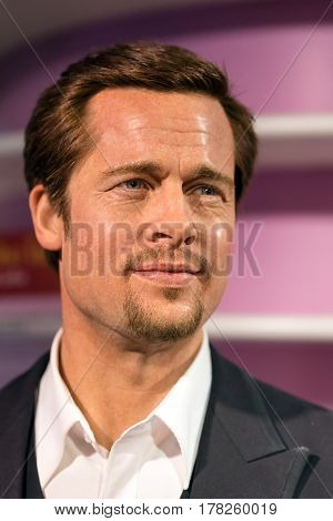 Bangkok - Jan 29: A Waxwork Of  Brad Pitt On Display At Madame Tussauds On January 29, 2016 In Bangk