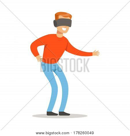 Man In Virtual Reality Glasses, Part Of Happy Gamers Enjoying Playing Video Game, People Indoors Having Fun With Computer Gaming. Modern Playing Technology Entertainment For Home Leisure Vector Illustration.