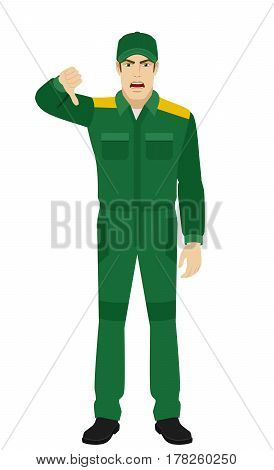 Worker showing thumb down gesture as rejection symbol. Full length portrait of Delivery man or Worker in a flat style. Vector illustration.