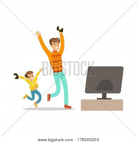 Father And Son Winning Console Game, Part Of Happy Gamers Enjoying Playing Video Game, People Indoors Having Fun With Computer Gaming. Modern Playing Technology Entertainment For Home Leisure Vector Illustration.