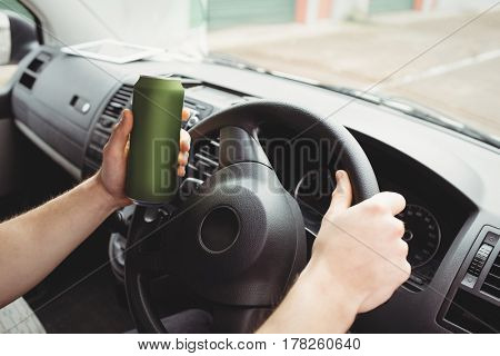Man driving his van while drunk