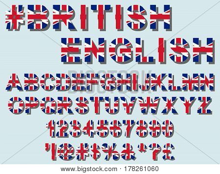 Flat british flag font alphabet numerals and symbols stylized by United Kingdom of Great Britain and Northern Ireland for patriotic celebrations