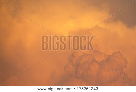 Orange sunset light. Sky and Cloud. On the bright.