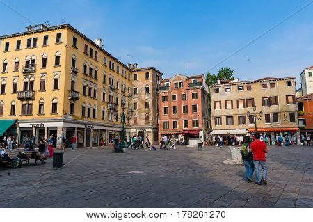 Campo San Geremia With Tourists And Locals