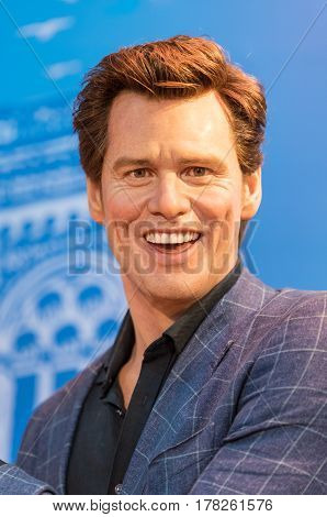 BANGKOK -JAN 29: A waxwork of Jim Carrey on display at Madame Tussauds on January 29 2016 in Bangkok Thailand. Madame Tussauds' newest branch hosts waxworks of numerous stars and celebrities