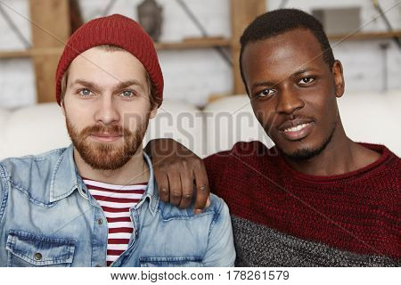 People, Love And Homosexuality. Samesex Male Couple Spending Nice Time Together At Cafe: Afro-americ