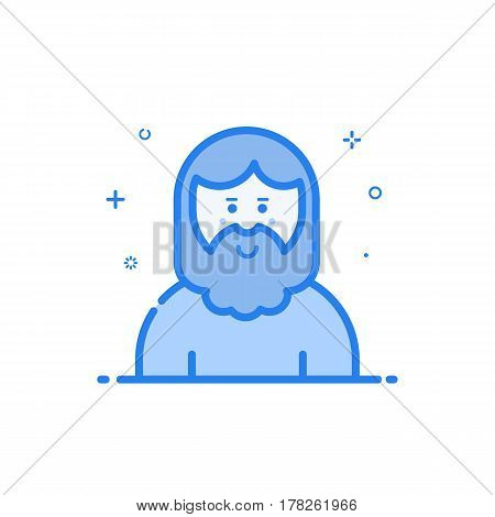 Vector illustration of blue icon in flat line style. Linear cute and smiling hipser man with beard. Graphic design concept of avatar use in Web Project and Applications Outline filled isolated object.