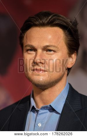 BANGKOK -JAN 29: A waxwork of Leonardo DiCaprio on display at Madame Tussauds on January 29 2016 in Bangkok Thailand. Madame Tussauds' newest branch hosts waxworks of numerous stars and celebrities
