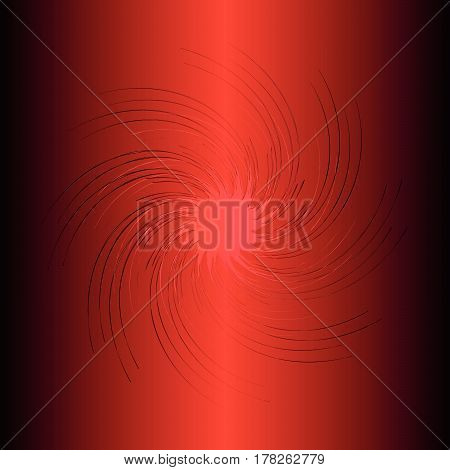 Design element, red lines in a circle on a black and red background