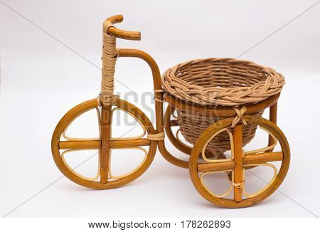 Bicycle from rattan. Handmade rattan and vines isolated on white background