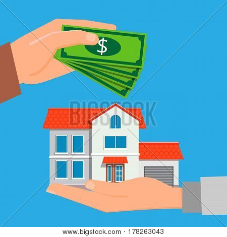 Buying a new property. Real estate agent holding a house in his hand and arm buyer pays the money for the house. Vector illustration in modern flat style, can used for web banners and info graphic.