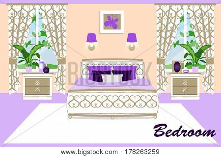 The interior of the bedroom. Bedroom set bed and nightstands. Cartoon. Vector illustration