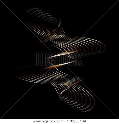 Wavy line drawing curve on a black background