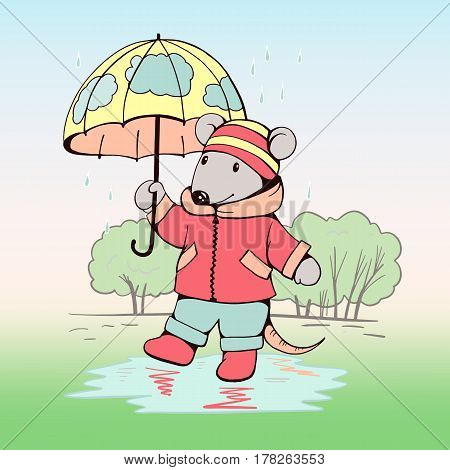 Hand-drawn illustration of funny cartoon Mouse with an umbrella in the rain. illustration. Vector.