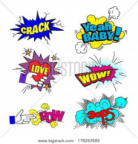 Colorful  patch badges, speech bubbles, stars and other elements. Vector illustration isolated on white background. Set of stickers, pins, patches in cartoon 80s-90s comic style, pop art