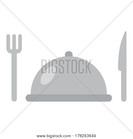Knife and fork cutlery with serving tray. Vector illustration