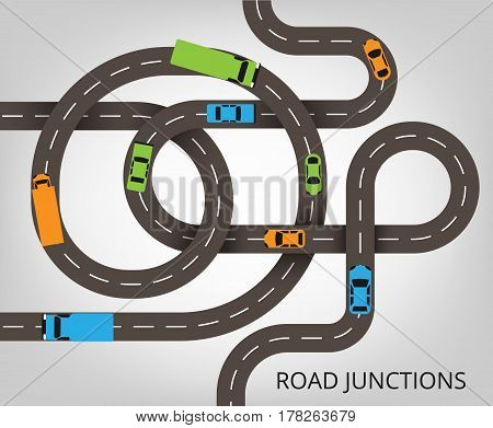 Roads junctions concept. Vector illustration with winding roads and a lot of colorful cars and trucks.