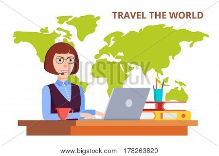Tourist agency. Consultant answers the call of the customer. Buying tourist tours around the world. A woman sitting at a desk in the office. Vector illustration in modern flat style.