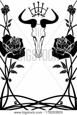 vector frame with roses and skull in black and white