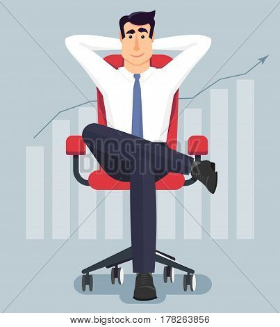 Young businessman relaxing in the office.Businessman sitting calmly on a casters chair legs crossed and hands behind head.Business boss resting in a calm pose.Vector illustration in modern flat style