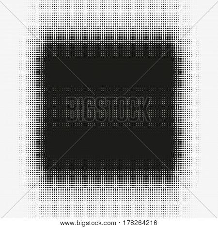 Abstract vector halftone shape. Black round form made of particles. Modern illustration with splattered array of dots. Gradation of tone. Element of design.