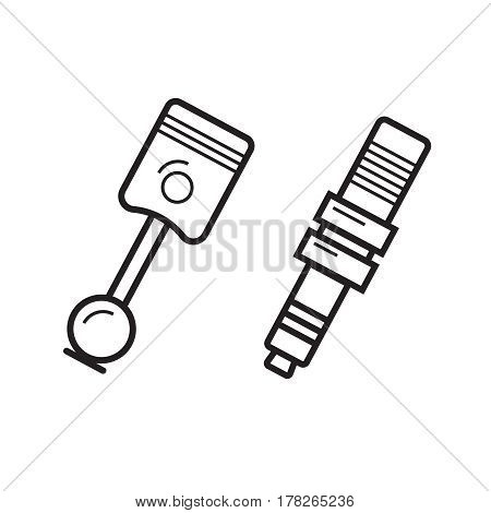 Pistons illustration in line style. Car spare vector concept