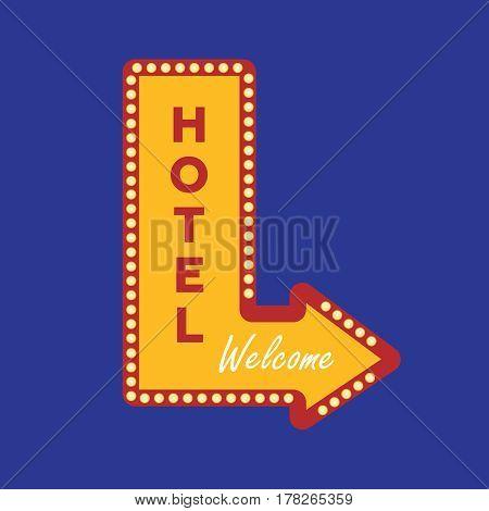 Hotel banner vintage vector. Motel vector sign