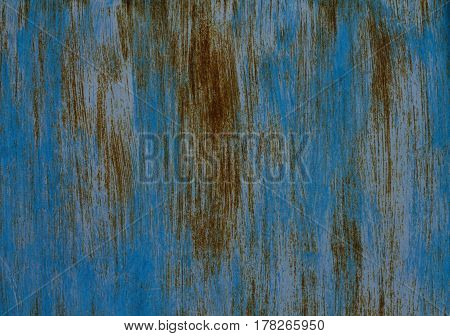 Old shabby dyed blue rusty textured steel sheet metal
