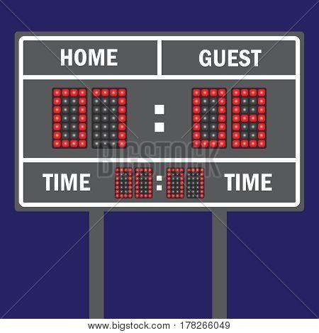 Sport vector illustration scoreboard. Score game display digital time information result