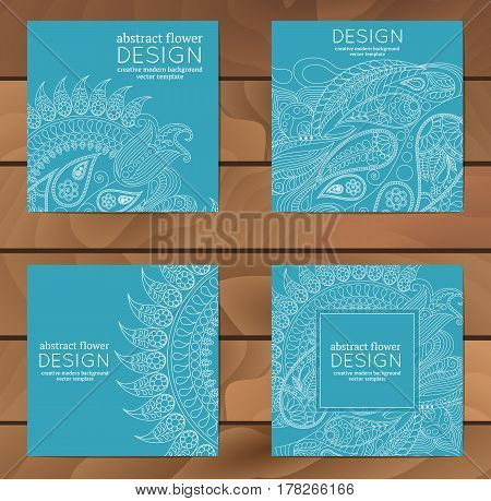 Vector set of business cards flayers banners with oriental pattern. Paisley and mandala. Modern abstract style Indian Arabic Islam motifs. Vintage design elements.