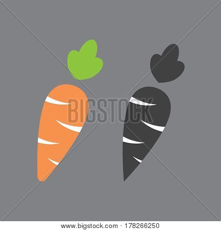 Carrot icon cartoon style isolated on white background. Carrot illustration. Carrot isolated black and color icons