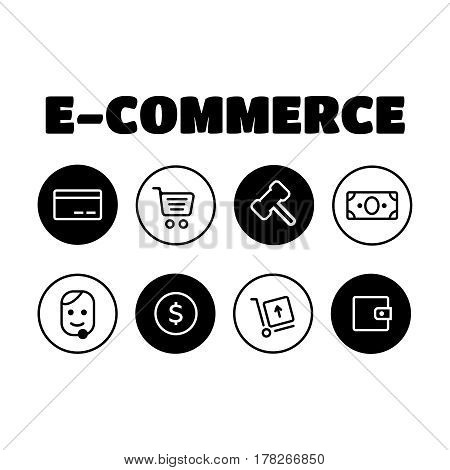 Shopping and E-commerce icons set. Shopping business e-commerce delivery icons