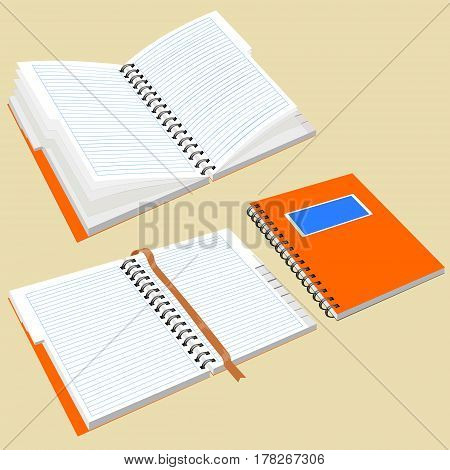 Open notepad with metal spiral. Isolated notebook with metal spiral. Notepad with the alphabet and bookmark. Image in perspective.