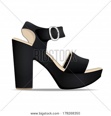 Vector shoes, women's black sandals from open-topped and high heels, isolated on white background