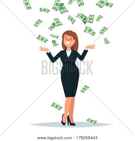 Vector illustration of happy businesswoman celebrates success standing under money rain banknotes cash falling on white background. Concept of success achievement wealth flat style