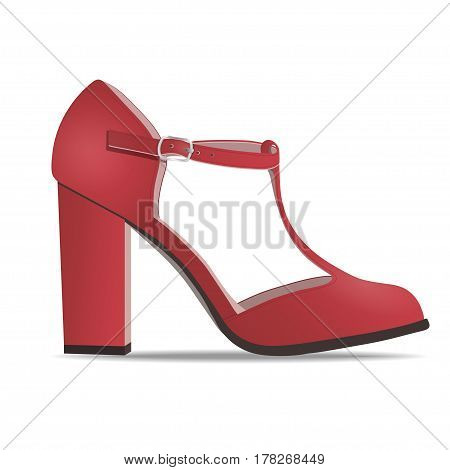 Vector shoes, women's red low shoe with straps on high heel, isolated on white background