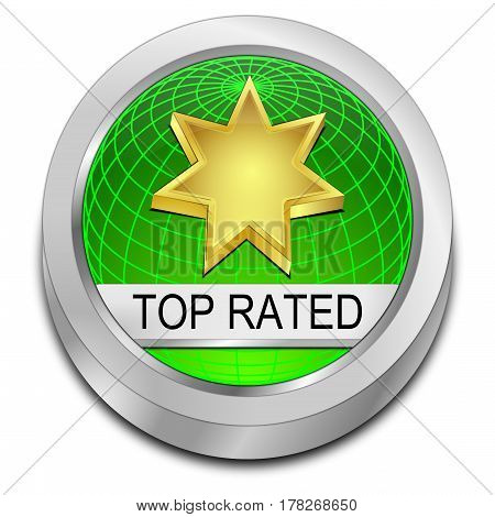 decorative green top rated Button - 3D illustration