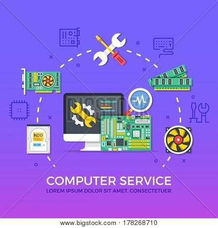 Computer repair, computer service. Flat design graphic elements, signs, line icons set. Premium quality. Modern concept for web banners, websites, infographics, printed materials. Vector illustration