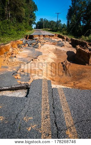 A broken road due to a hurricane