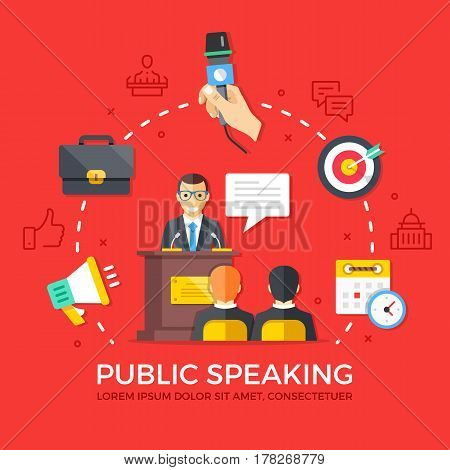 Public speaking. Speech, conference. Flat design graphic elements, line icons set. Premium quality. Modern concept for web banners, websites, infographics, printed materials. Vector illustration