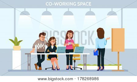 Vector illustration young adult people meeting working and talking co working center. Team teamwork togetherness collaboration