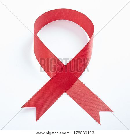red breast cancer ribbon isolated on white