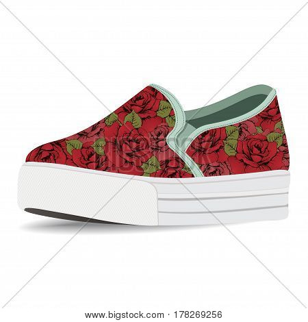 Vector shoes, slip-on with floral print, loafer on a high sole, isolated on white background