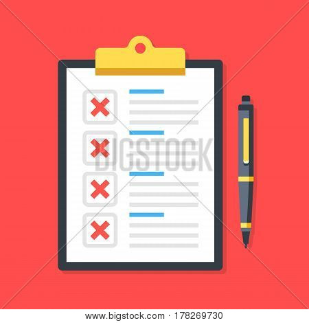 Clipboard with red crosses checkmarks and pen. Checklist, unfinished tasks, to-do list, survey concepts. Premium quality. Modern flat design graphic elements. Vector illustration