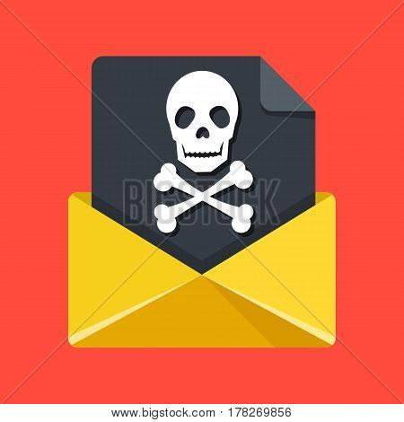 Envelope and document with skull and crossbones. Online scam, phishing, virus, internet fraud, spam concepts. Premium quality. Modern flat design graphic elements. Vector illustration poster