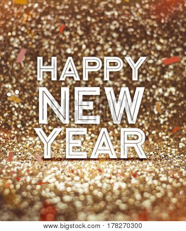 Happy New Year Word At Sparkling Gold Glitter Background With Confetti ,holiday Greeting Card