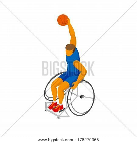 Isometirc 3D Physically Disabled Basketball Player