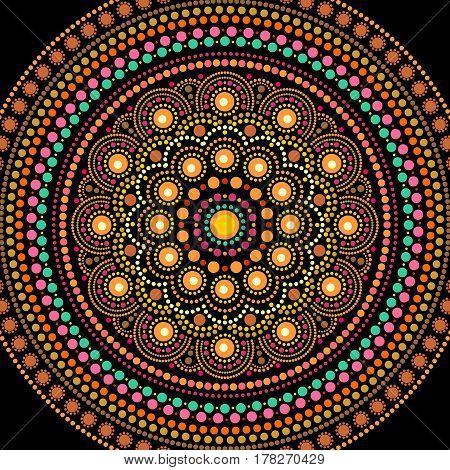 Ethnic mandala design. Dot painting art in aboriginal style. Decorative round ornament