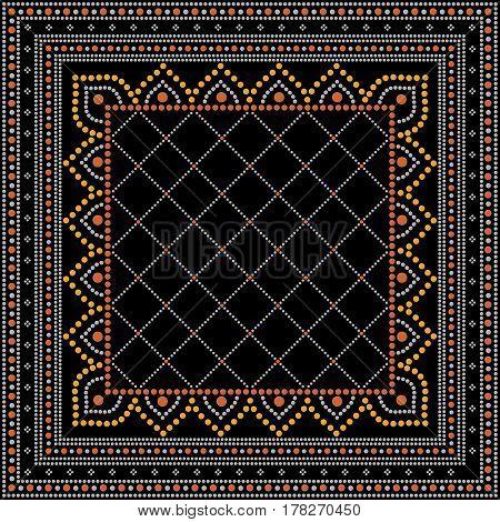 Dot painting decorative ornamental pattern black background