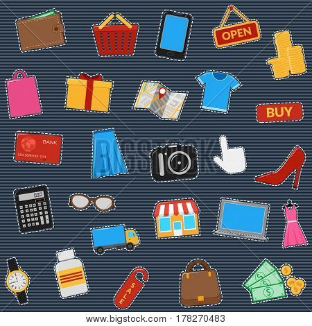 Set Of Icons Of Online Shop